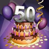 stock photo of 50th  - Fiftieth anniversary cake with numbers candles and balloons - JPG