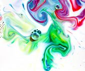Abstract colorful Backgrounds and textures. Food Coloring in milk. Food coloring in whole milk creat poster