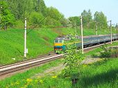 foto of chug  - the image of electric train in a sunny day - JPG