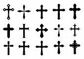 stock photo of maltese-cross  - Set of religious cross symbols isolated on white - JPG