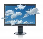 image of computer technology  - LCD monitor with clouds isolated over a white background - JPG