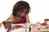 stock photo of bulimic  - Pretty black woman having clearly eaten too much - JPG