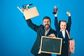 Father And Schoolgirl With Happy Faces On Blue Background poster