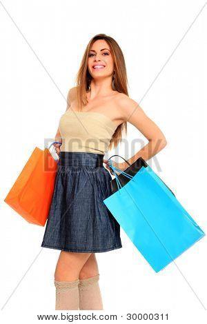 购物袋白上的可爱女人