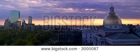 Suset Panorama Of Boston