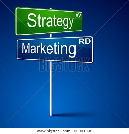 Vector direction sign with marketing strategy words.