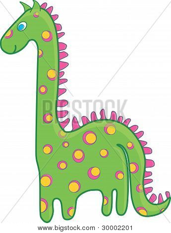 Green dinosaur with a pink and yellow spots