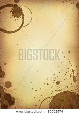 Classic vintage background. Old paper sheet with stains of coffee. Vector version.