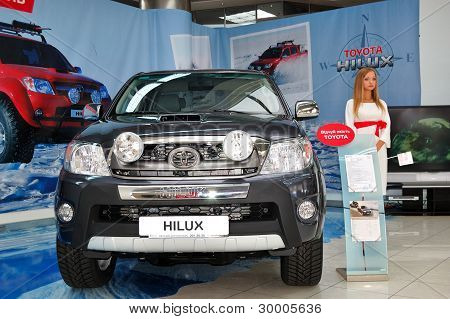 """Kiev - September 11:  Toyota Hilux At Yearly Automotive-show """"capital Auto Show 2011"""". September 11,"""