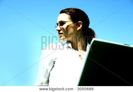Beautiful Woman Typing