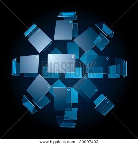 3D Spherical Interface-like template for images. Vector Illustration