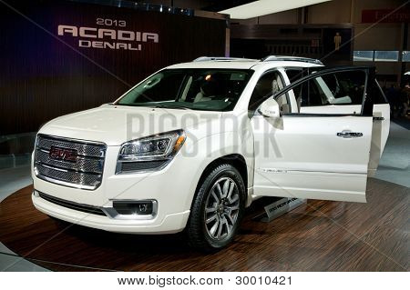 CHICAGO - FEB 12: The 2013 GMC Acadia Denali on display at the 2012 Chicago Auto Show. February 12, 2012 in Chicago, Illinois.