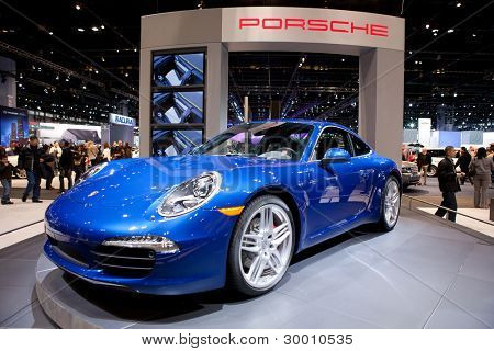 CHICAGO - FEB 12: The 2013 Porsche Carrera on display at the 2012 Chicago Auto Show. February 12, 2012 in Chicago, Illinois.