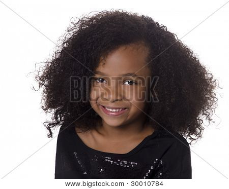 Adorable cute little girl with curly hair