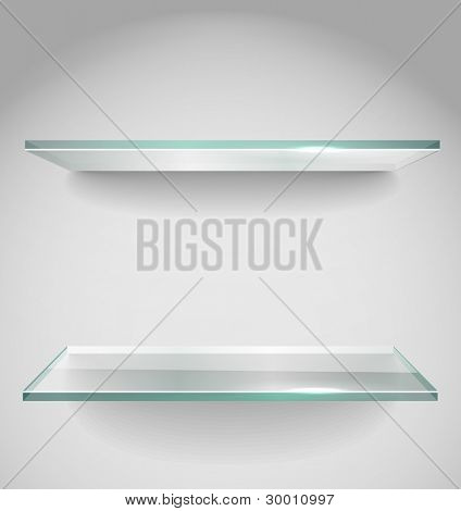 Two Empty advertising glass shelves with spot light