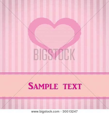 Pink striped card with heart