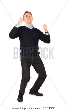 Young Man Gives Gesture
