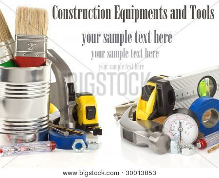 tools and construction equipment isolated on white background