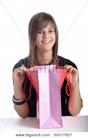 Smiling Teenager With Shopping Bag