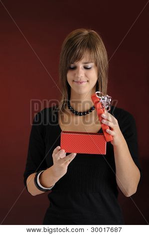 teenager with present