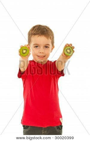 Boy Giving Slices Kiwi