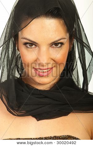 Beauty Woman With Black Veil