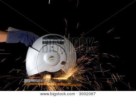 Radial Arm Saw Cutting Metal