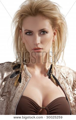 Fashion  Girl Portrait With Sequins Top