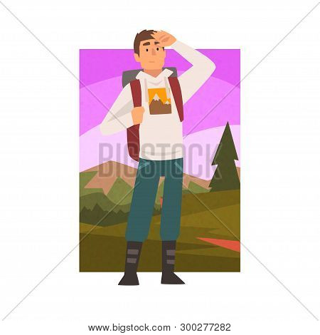 poster of Young Man Travelling With Backpack, Male Traveller Looking Into Distance In Summer Mountain Landscap
