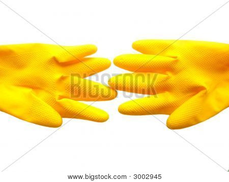 Isolated Yellow Gloves.