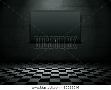 flach-Fernseher in Grunge leeren Inneren