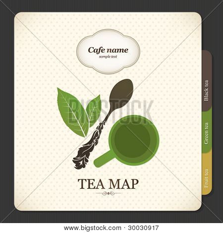 Tea map. Restaurant menu design