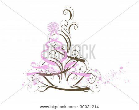 Pink Brown Abstract Christmas Tree