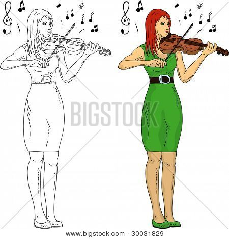 vector - woman playing violin, isolated on background