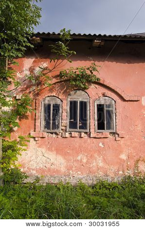 Old Building Wall With Three Windows