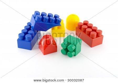 Color Components Of Child's Meccano Over White