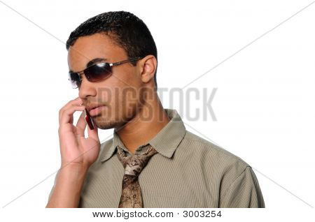 Young Man Talking On A Cell Phone