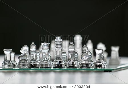 Piezas de ajedrez de cristal