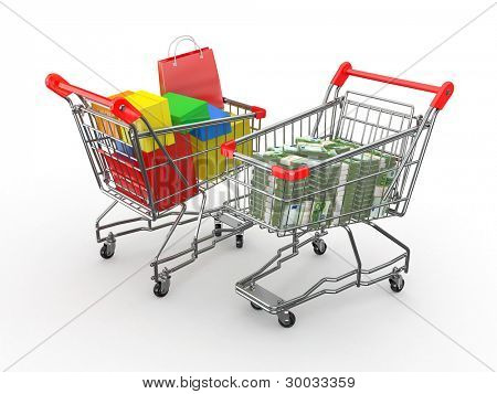 Consumerism. Purchase of goods for money. Shopping cart with boxes and euro. 3d