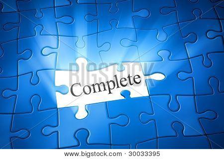 Una imagen de un rompecabezas azul con la palabra completa