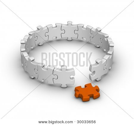 grau-Puzzles mit orange Einteiler