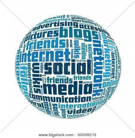 Conceito de mídia social em colagem de palavra