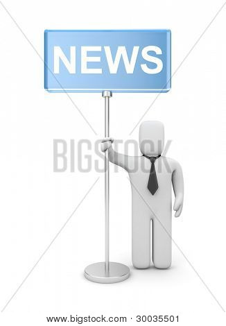 3d person with news banner