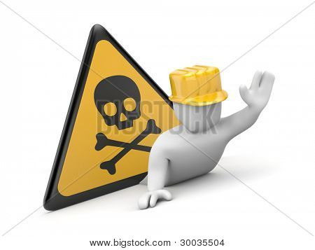 3d worker in danger. Image contain clipping path