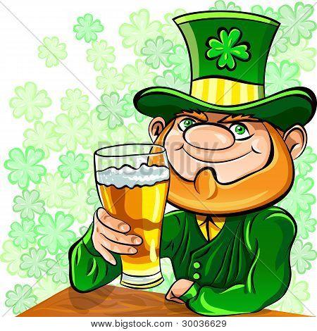 Vector St. Patrick's Day Leprechaun Drinks Beer