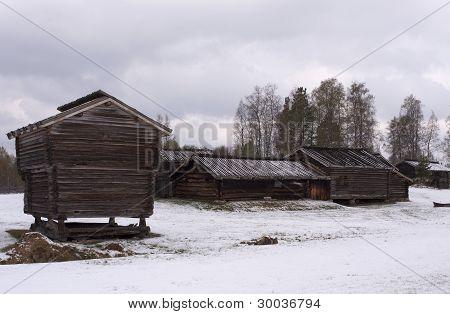 Wooden homestead in woodlands area.
