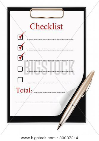 clipboard with a pen and a checklist.  vector illustration on white background