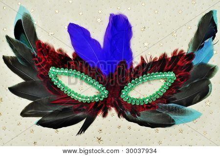 a carnival mask with feathers of different colors on an elegant patterned background