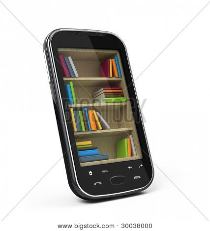 Smartphone with bookshelf - e-book library concept