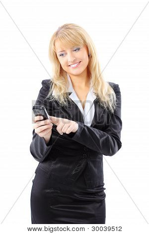 A businesswoman is holding mobile phone - on white background